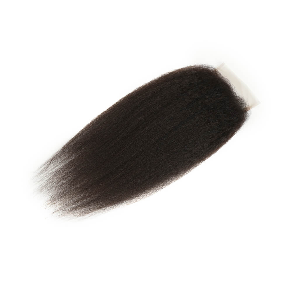 natural kinky straight human hair 4*4 lace closure side