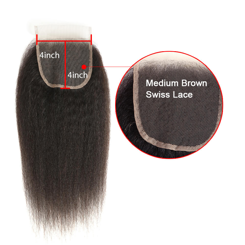 natural kinky straight human hair 4*4 lace closure lace net