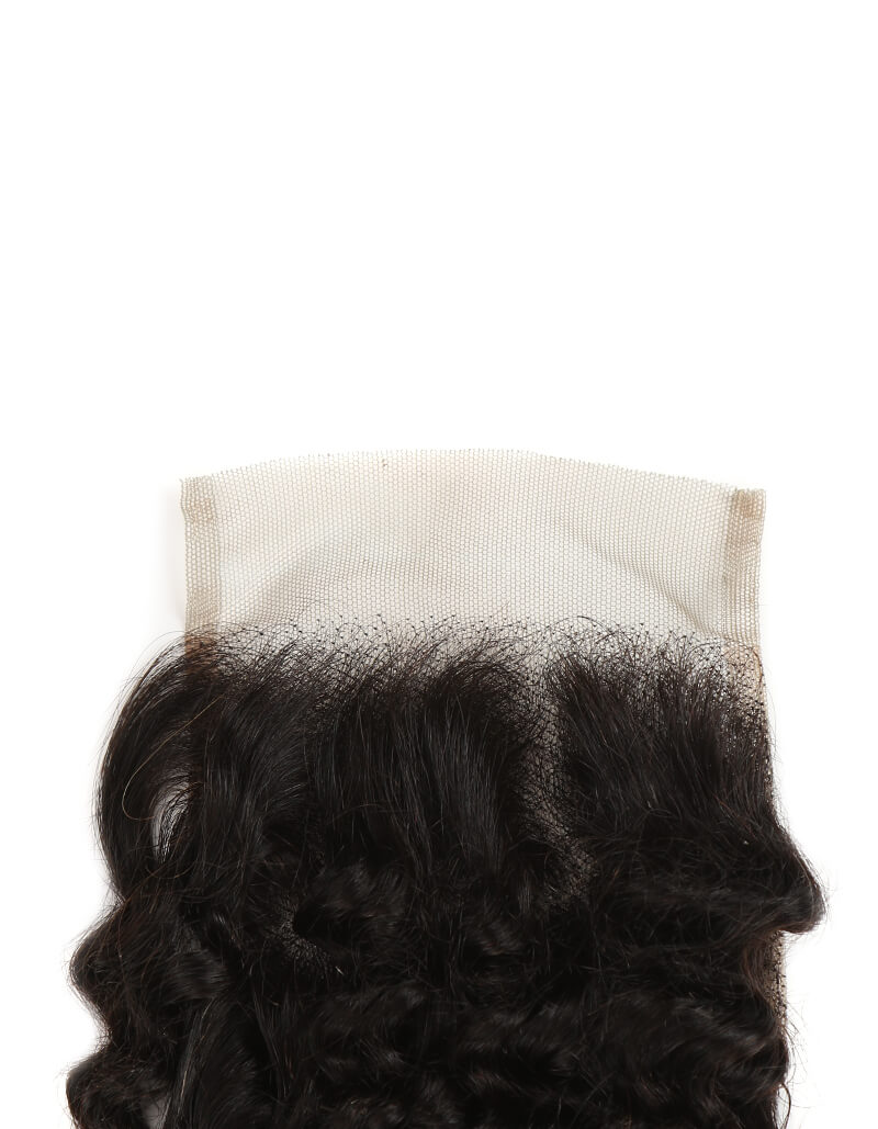 natural kinky curly human hair 4*4 lace closure detail
