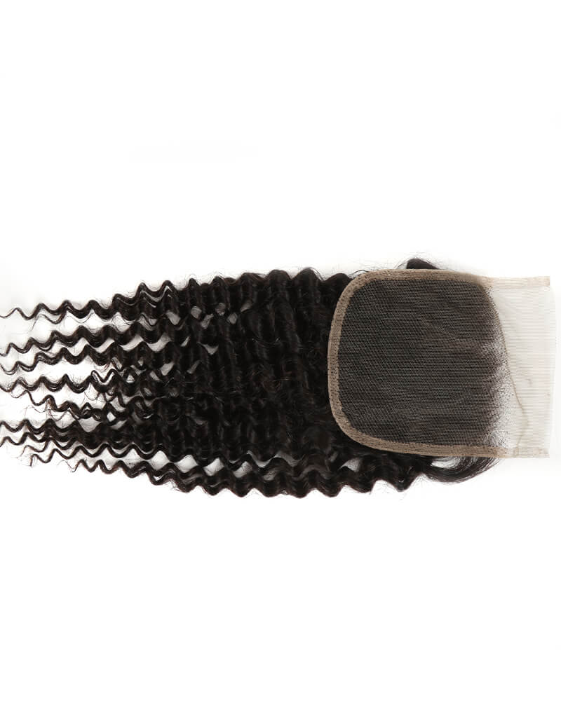 natural kinky curly human hair 4*4 lace closure back