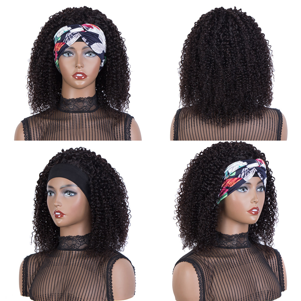 Queen Remy Human Hair Headband Wig Kinky Curly Wigs 150% Density Natural Color