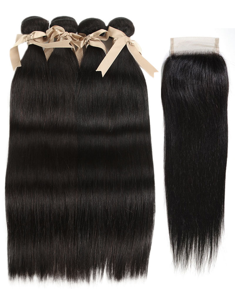 Queen Remy 4 Bundles Straight Hair With 4x4 Lace Closure