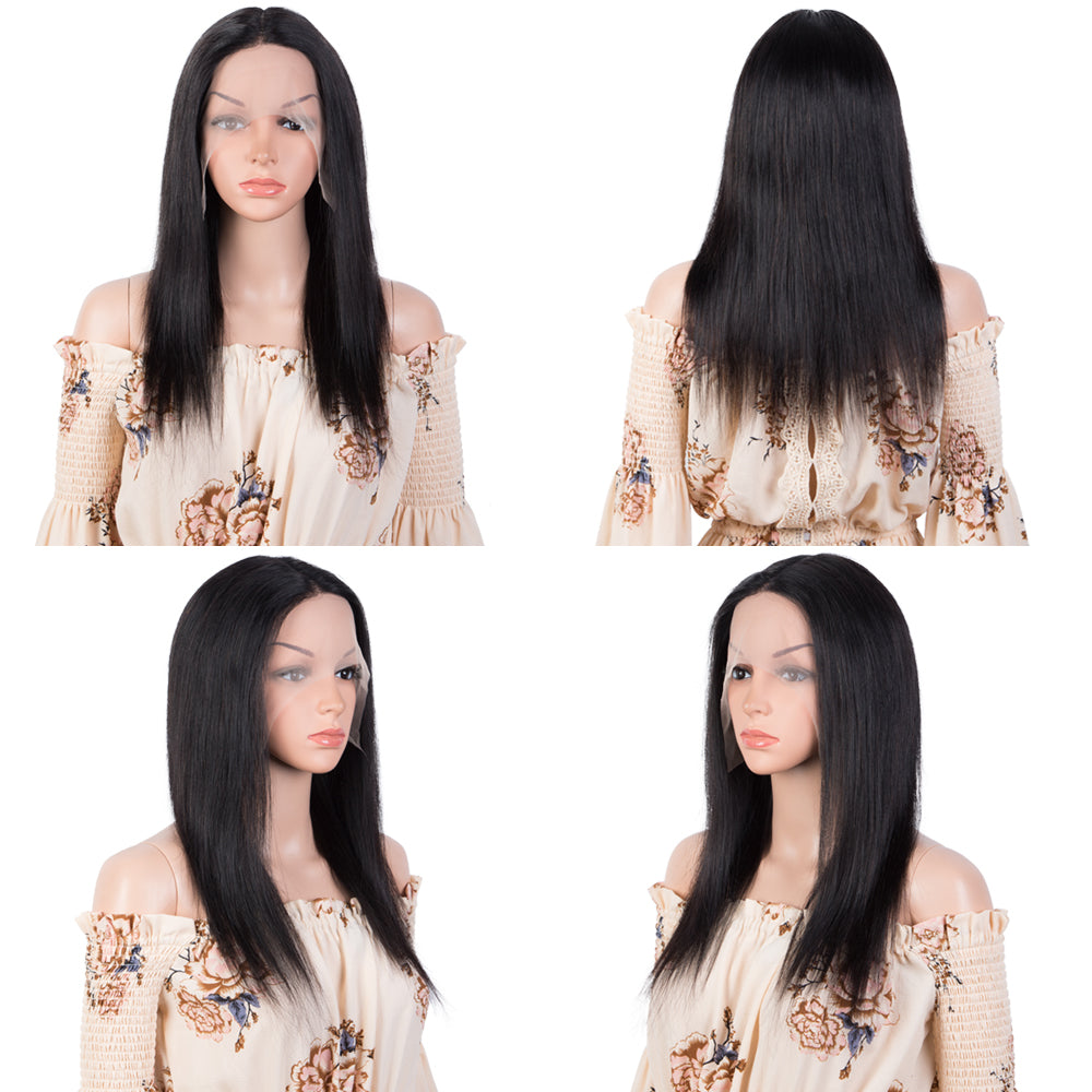 QVR T Lace Human Hair Wigs 13x4x1 HD Lace Front Straight Wig