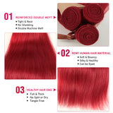 Queen Remy Human Hair 3 Bundles Straight Hair Weave Red Color