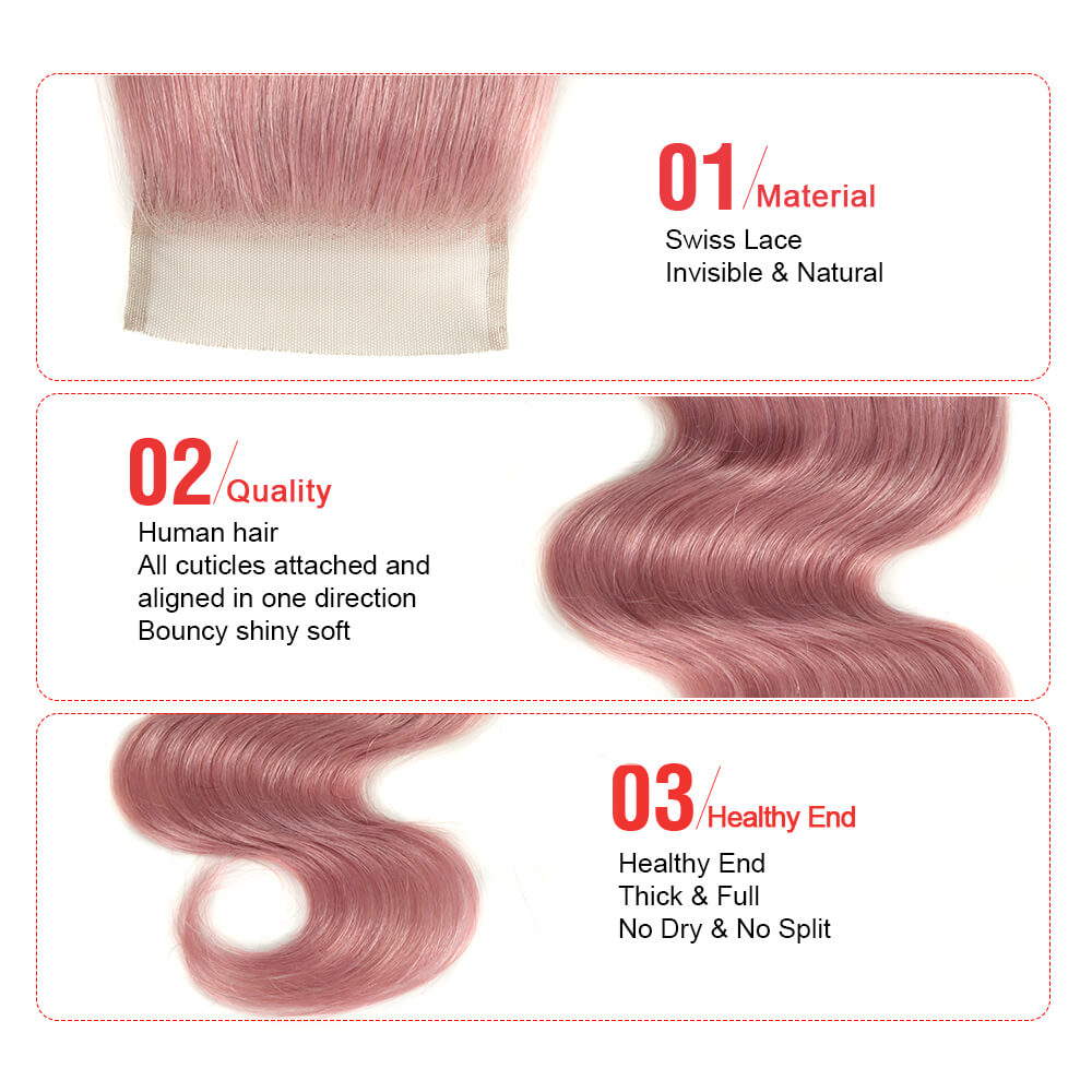 pink human hair body wave 4*4 lace closure detail