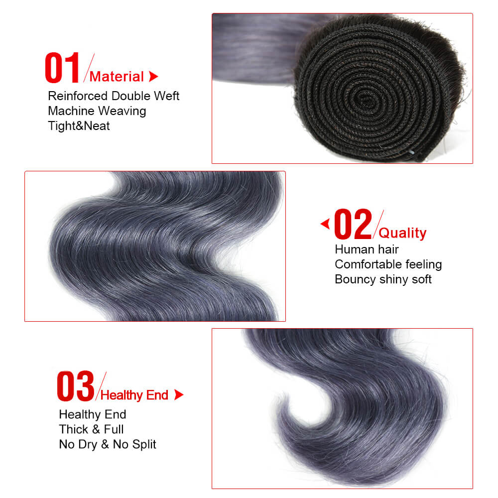 ombre haze blue human hair body wave bundle detail