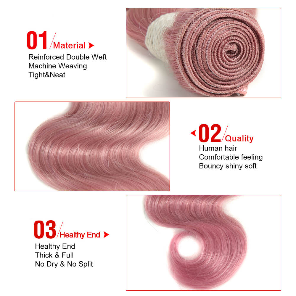 pink human hair body wave bundle detail