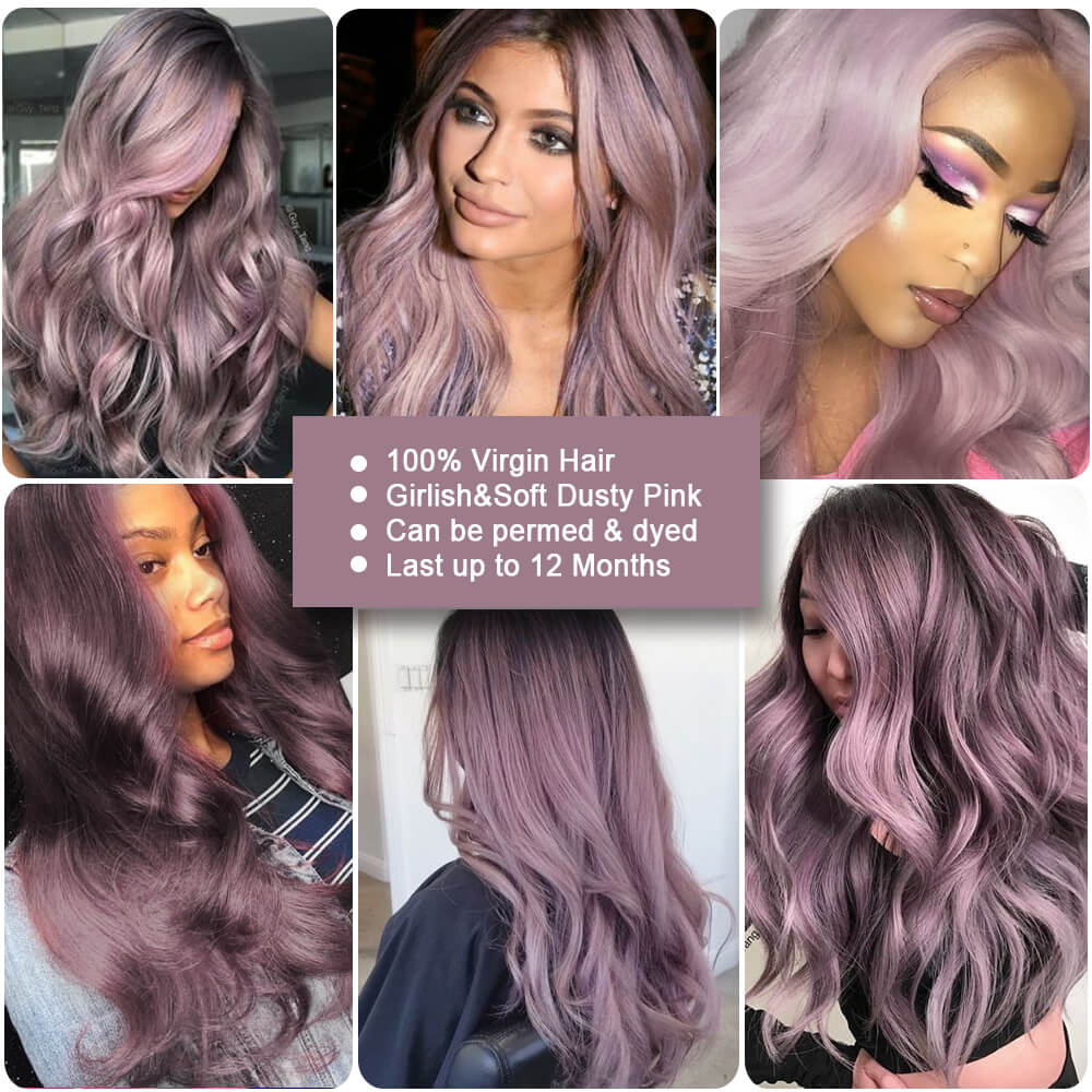 ombre purple human hair body wave bundle customer show