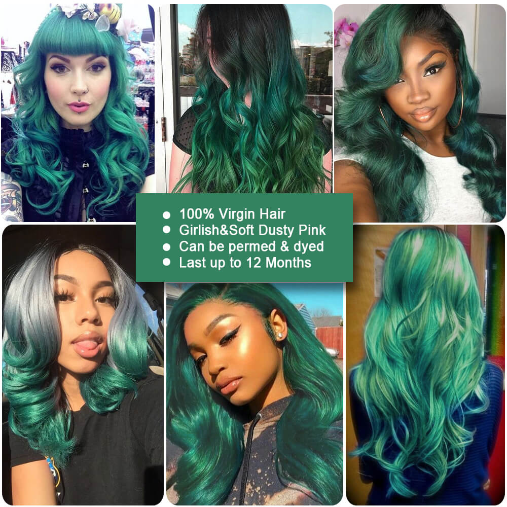 ombre green human hair body wave bundle customer show