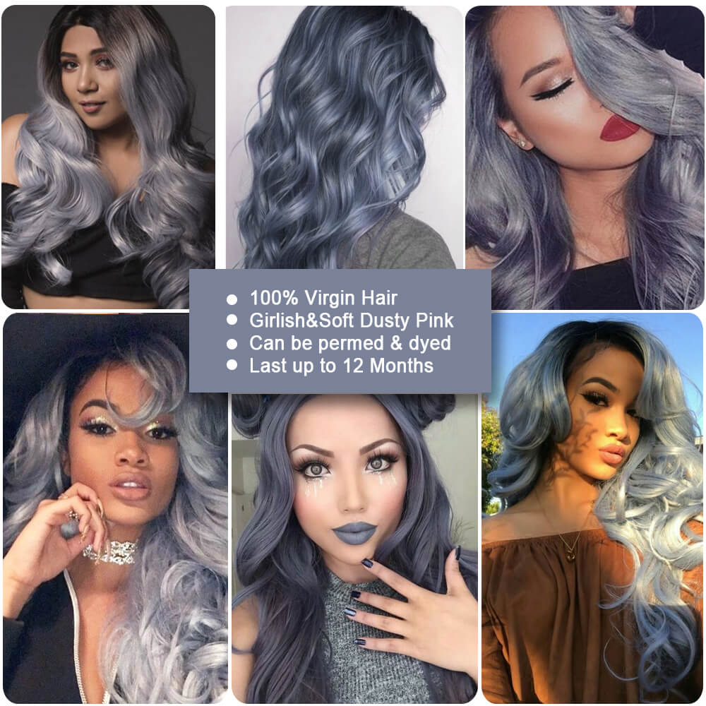ombre haze blue human hair body wave bundle customer show