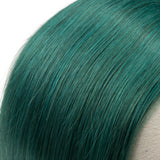 Queen Remy Human Hair 3 Bundles with Closure Straight Hair Weave Jade Green Color