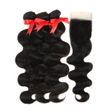 natural human hair body wave 3 bundles with 4*4 lace closure