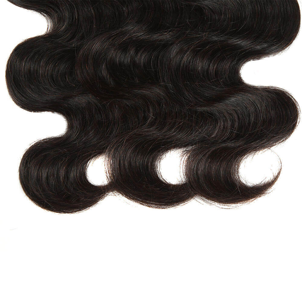 natural human hair body wave 3 bundles with 4*4 lace closure end