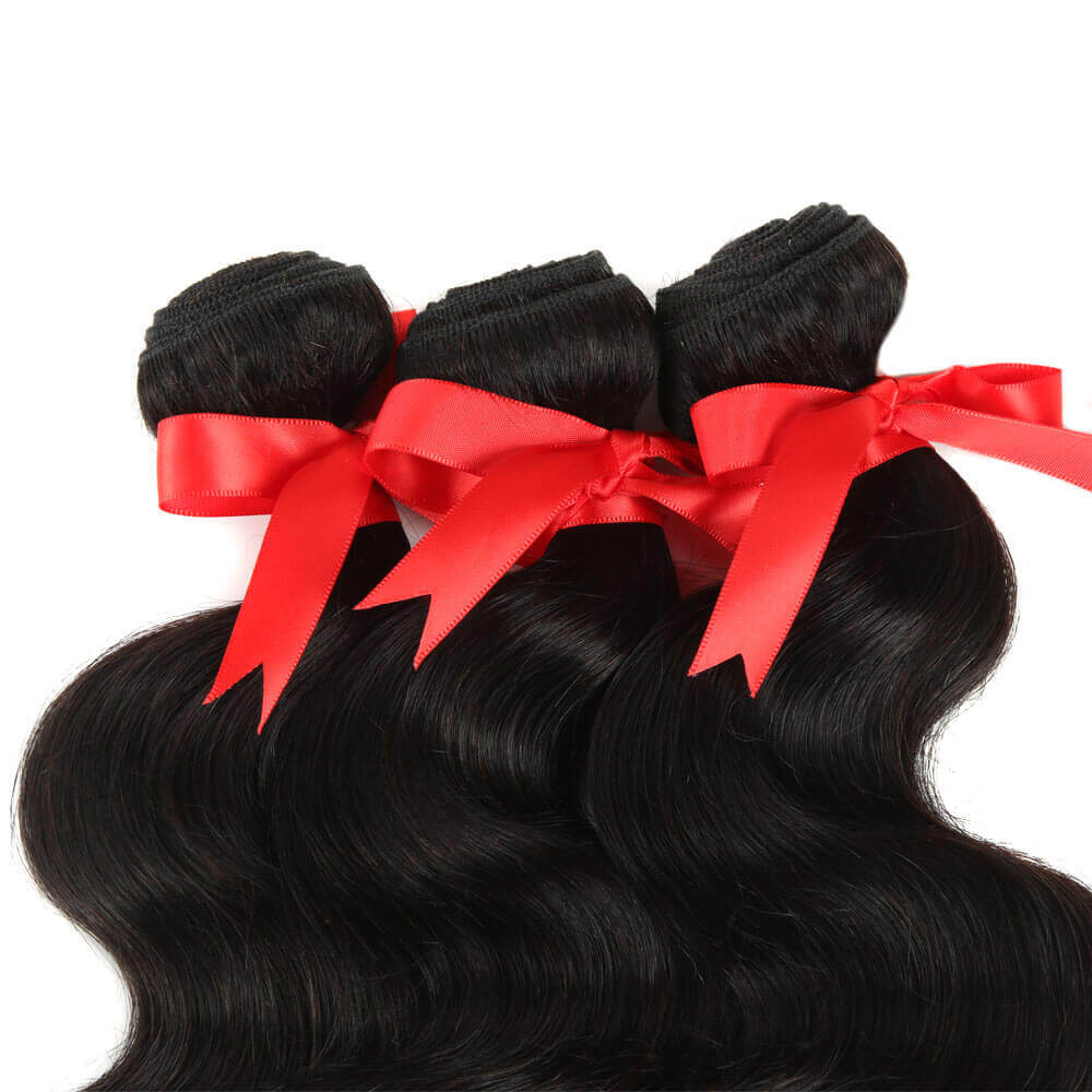 natural human hair body wave 3 bundles with 4*4 lace closure top