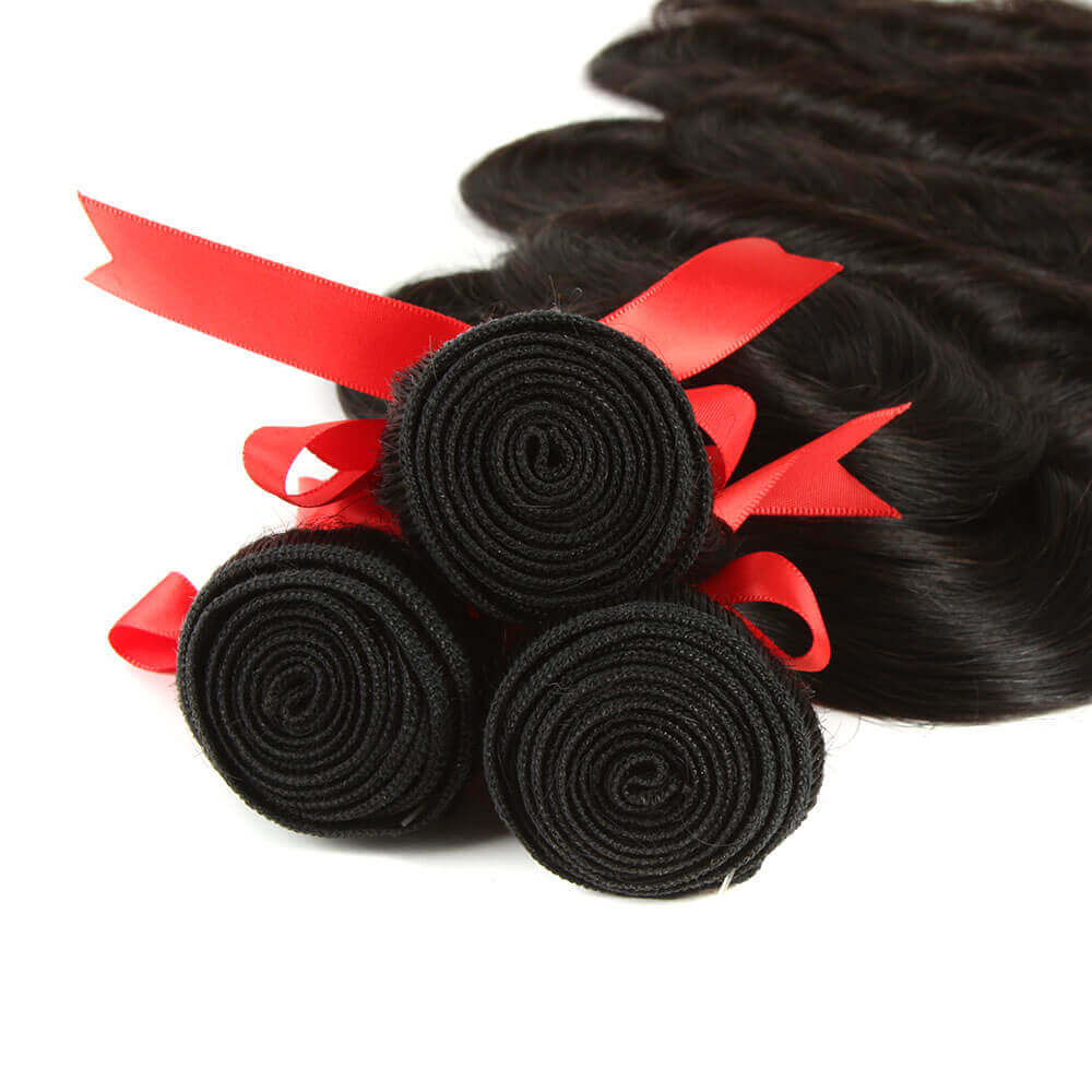 natural human hair body wave 3 bundles with 4*4 lace closure weft