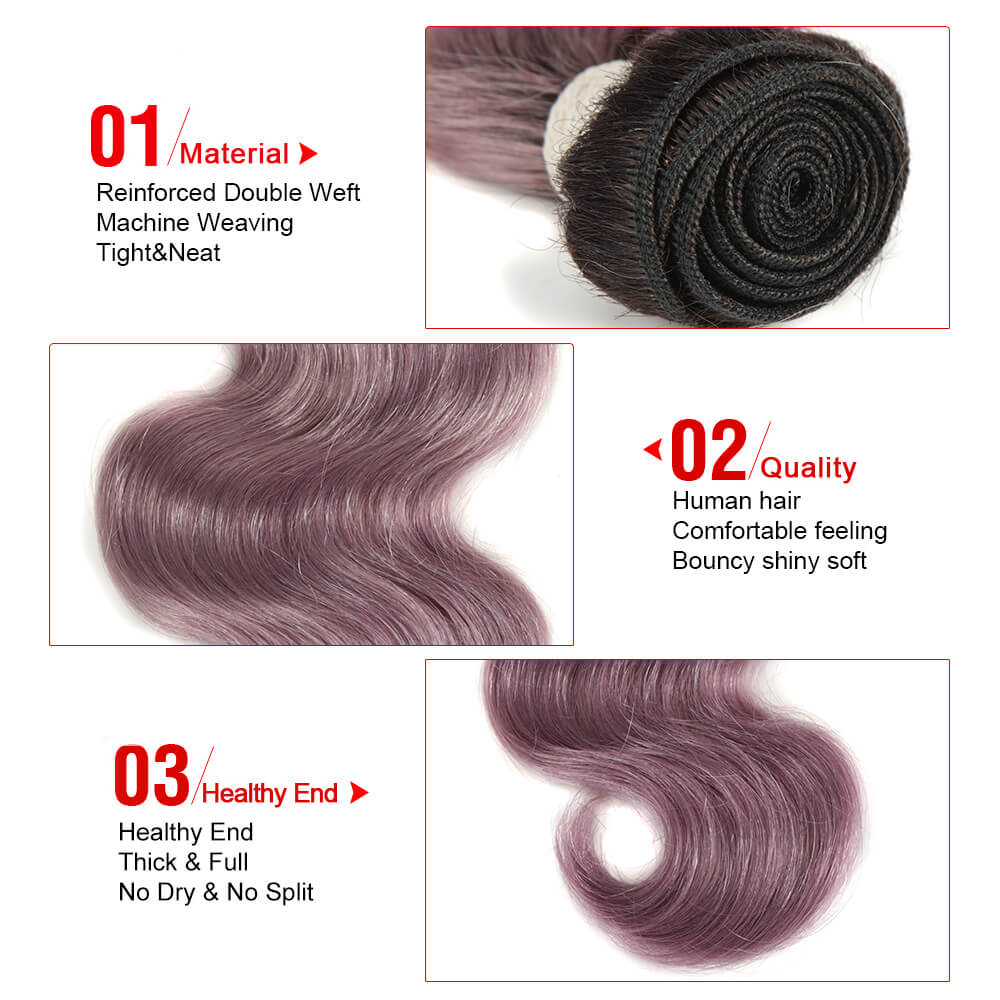 purple body wave human hair bundles detail
