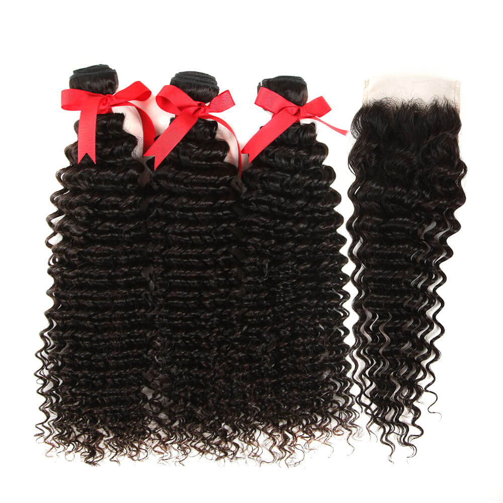 natural culy human hair 3 bundles with 4*4 lace closure
