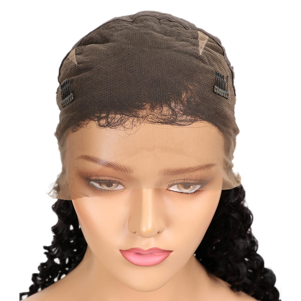 natural deep wave human hair full lace wig cap front