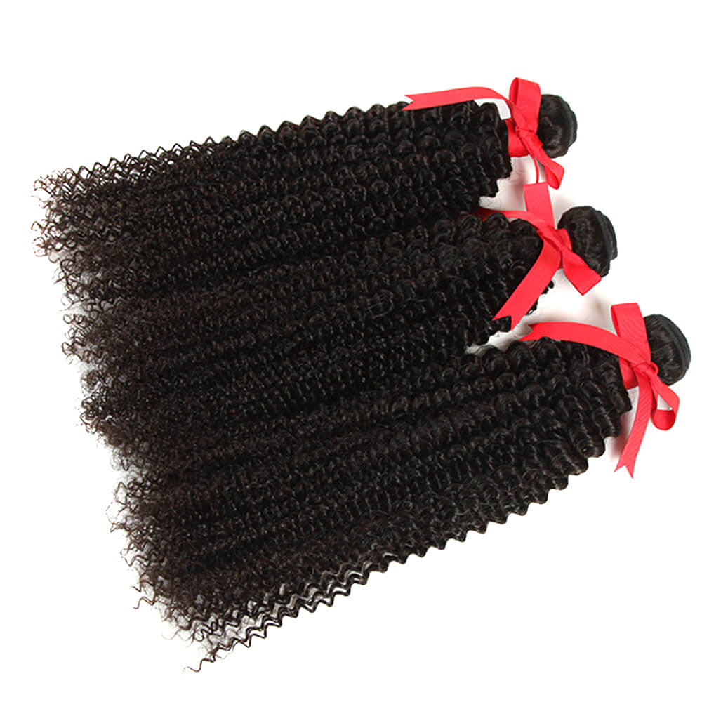 natural kinky curly human hair 3 bundles side