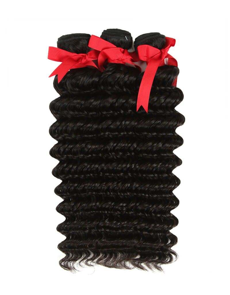 natural human hair deep wave 3 bundles