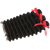 natural human hair deep wave 3 bundles side