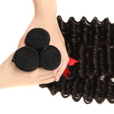 natural human hair deep wave 3 bundles weft