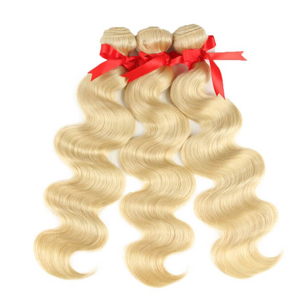 blonde body wave human hair 3 bundles