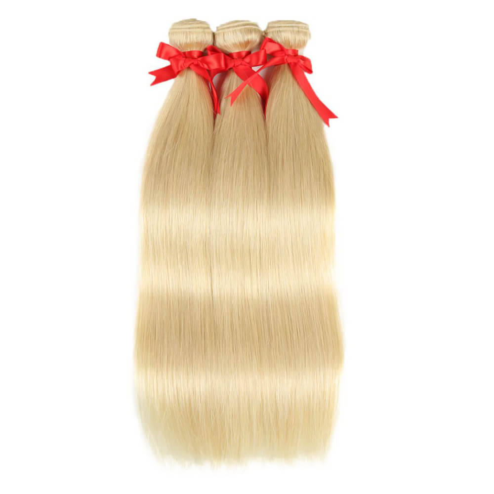 straight blonde human hair 3 bundles