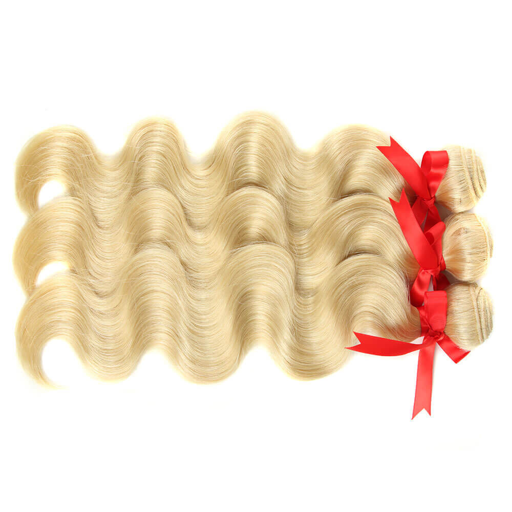 blonde body wave human hair 3 bundles side