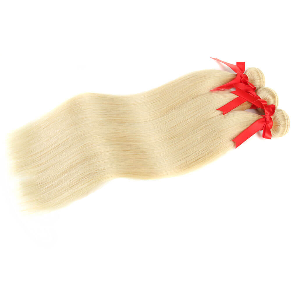 straight blonde human hair 3 bundles side