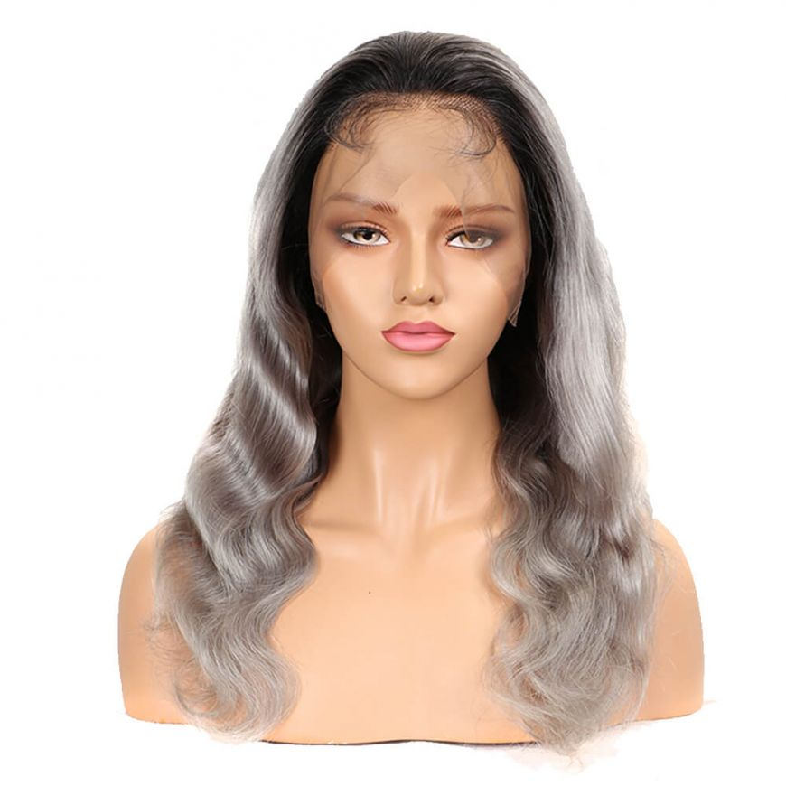 Ombre Grey Body Wave Human Hair Full Lace wig