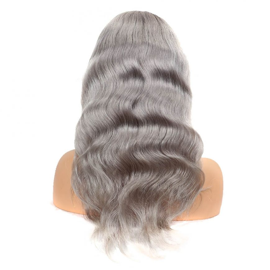 Ombre Silver Grey Body Wave Human Hair Full Lace wig back