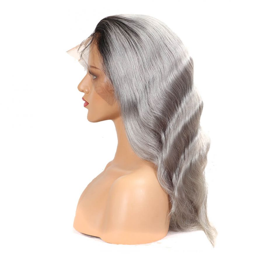 Ombre Silver Grey Body Wave Human Hair Full Lace wig side