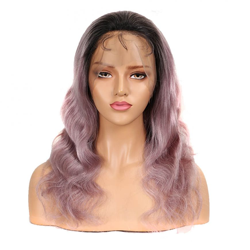 Ombre Rose Gold Pink Body Wave Human Hair Full Lace wig