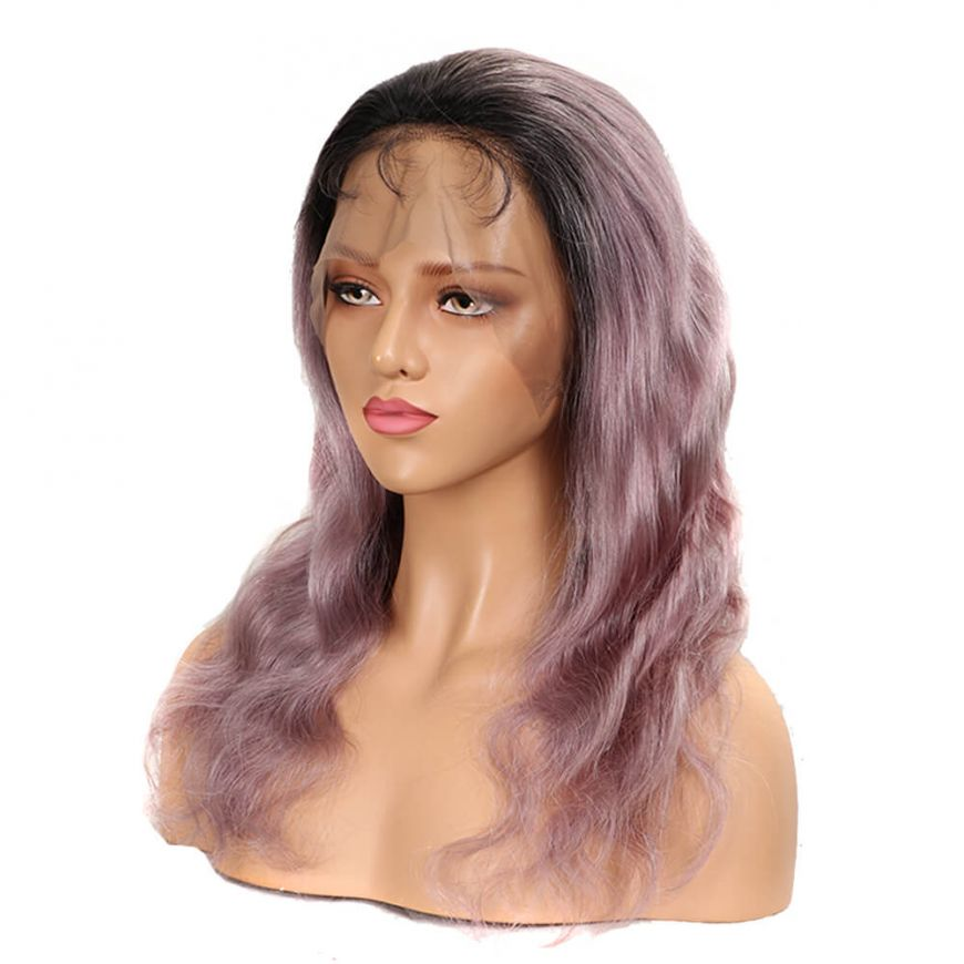 Ombre Rose Gold Pink Body Wave Human Hair Full Lace wig side
