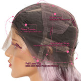 Ombre Rose Gold Pink Body Wave Human Hair Full Lace wig cap