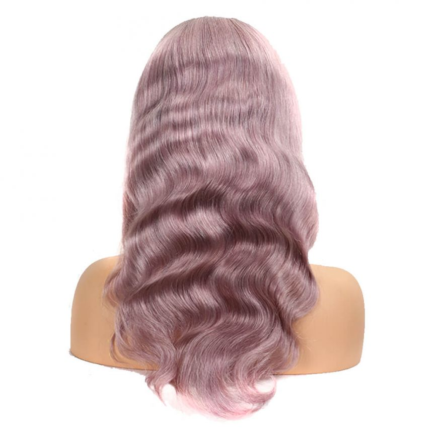 Ombre Rose Gold Pink Body Wave Human Hair Full Lace wig back