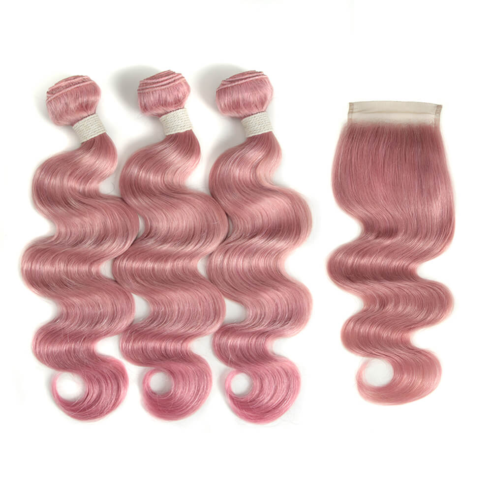 pink human hair body wave 3 bundles with 4*4 lace closure