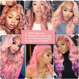 pink human hair body wave 3 bundles with 4*4 lace closure customer show