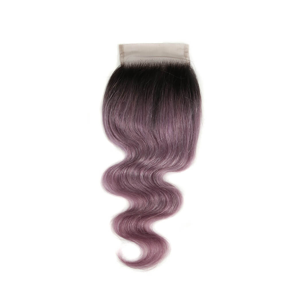 purple human hair body wave 4*4 lace closure