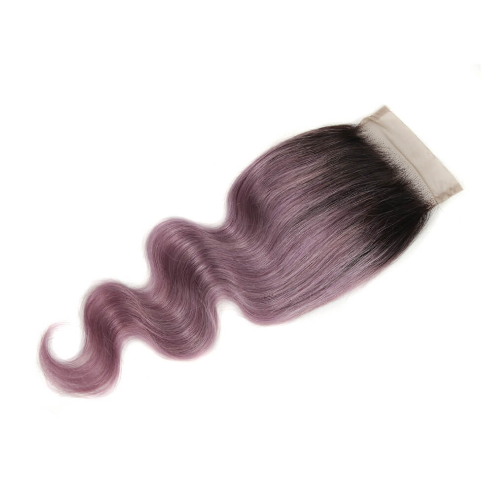 purple human hair body wave 4*4 lace closure side