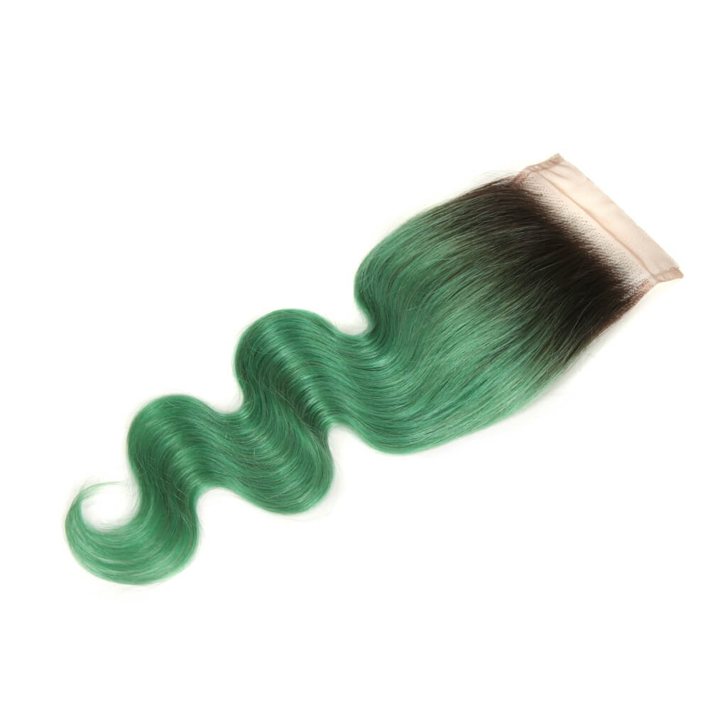 green human hair body wave 4*4 lace closure side