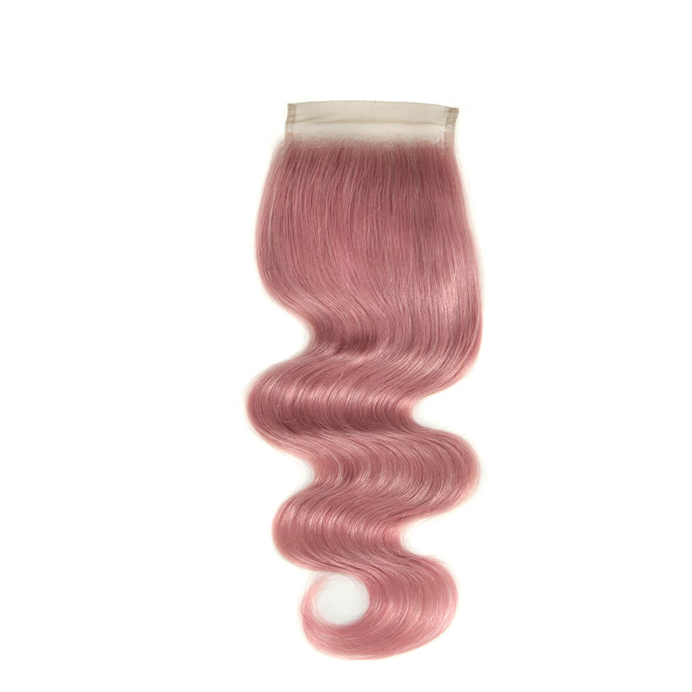 pink human hair body wave 4*4 lace closure
