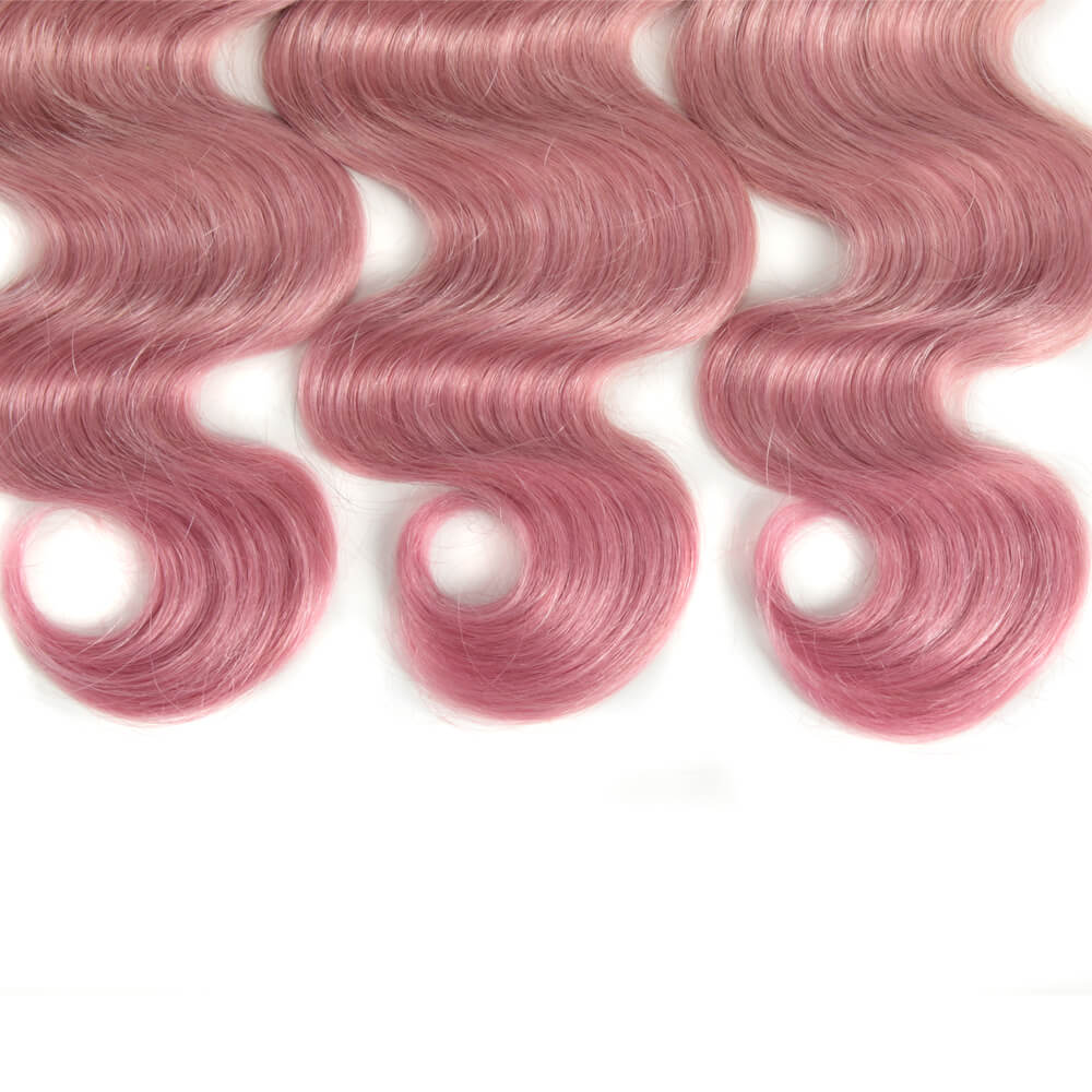pink body wave human hair bundles ends