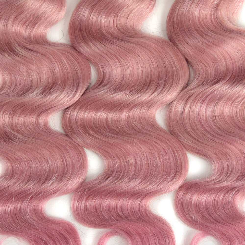 pink body wave human hair bundles medium