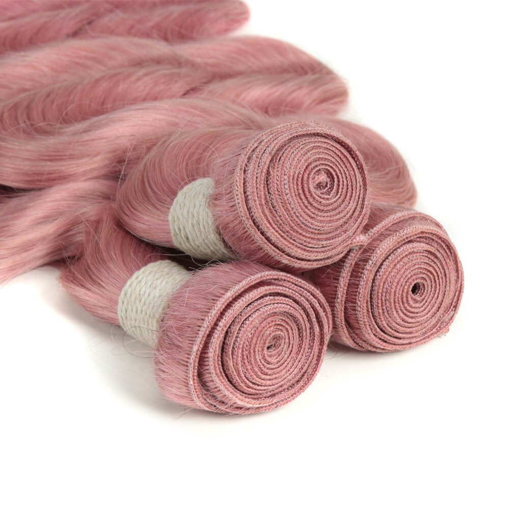 pink body wave human hair bundles weft