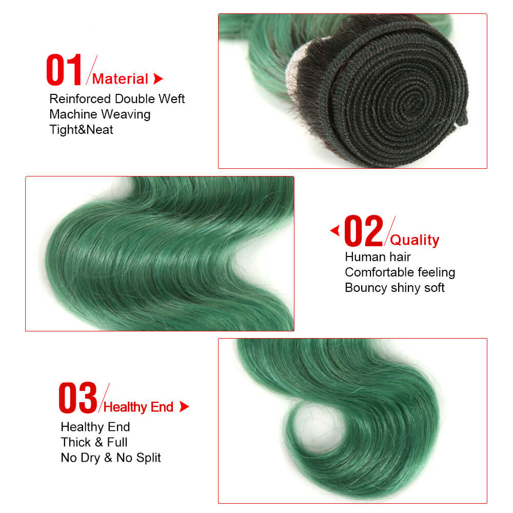 ombre green human hair body wave 3 bundles with 4*4 lace closure bundle detail