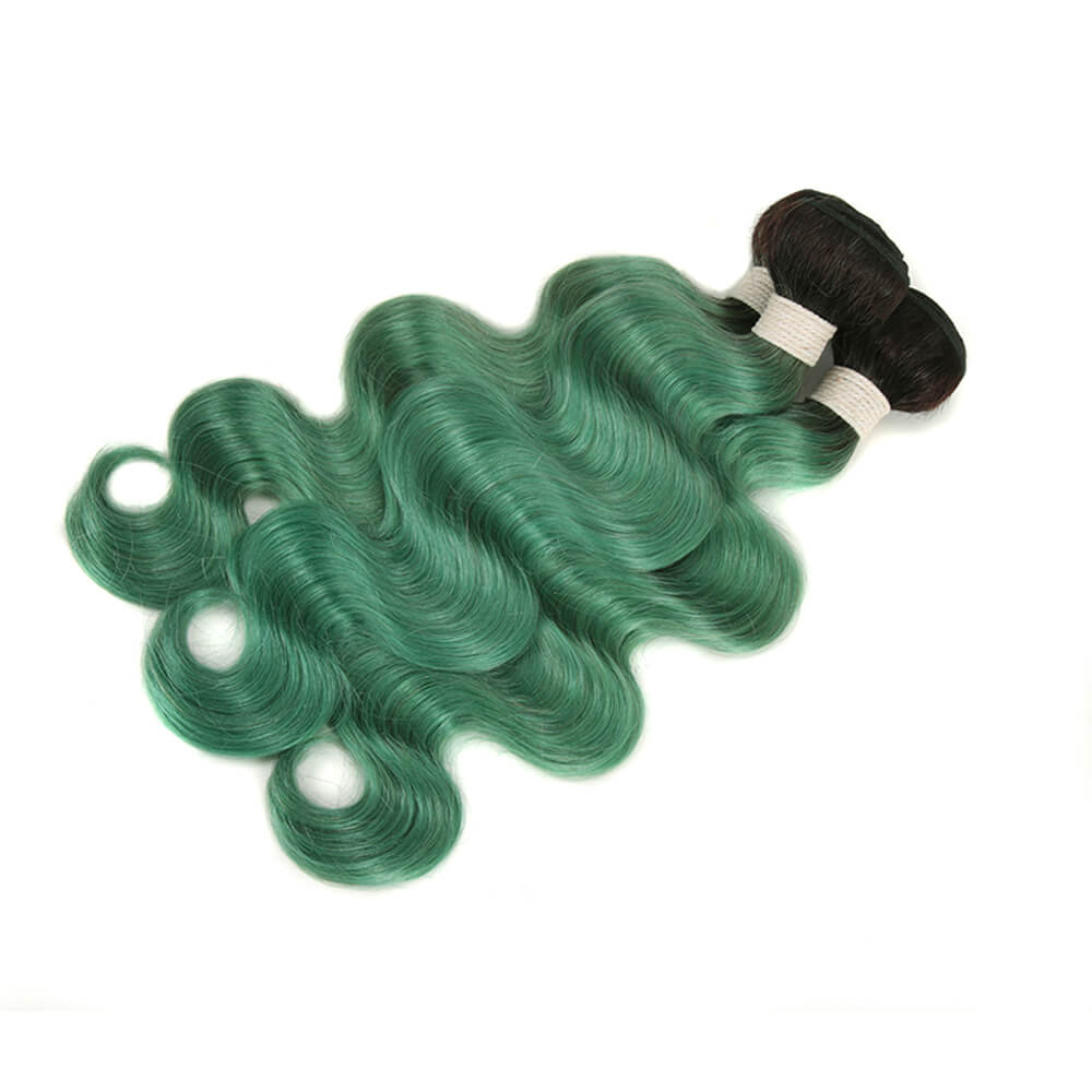 ombre green human hair body wave 3 bundles with 4*4 lace closure bundles