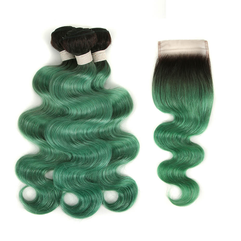 ombre green human hair body wave 3 bundles with 4*4 lace closure