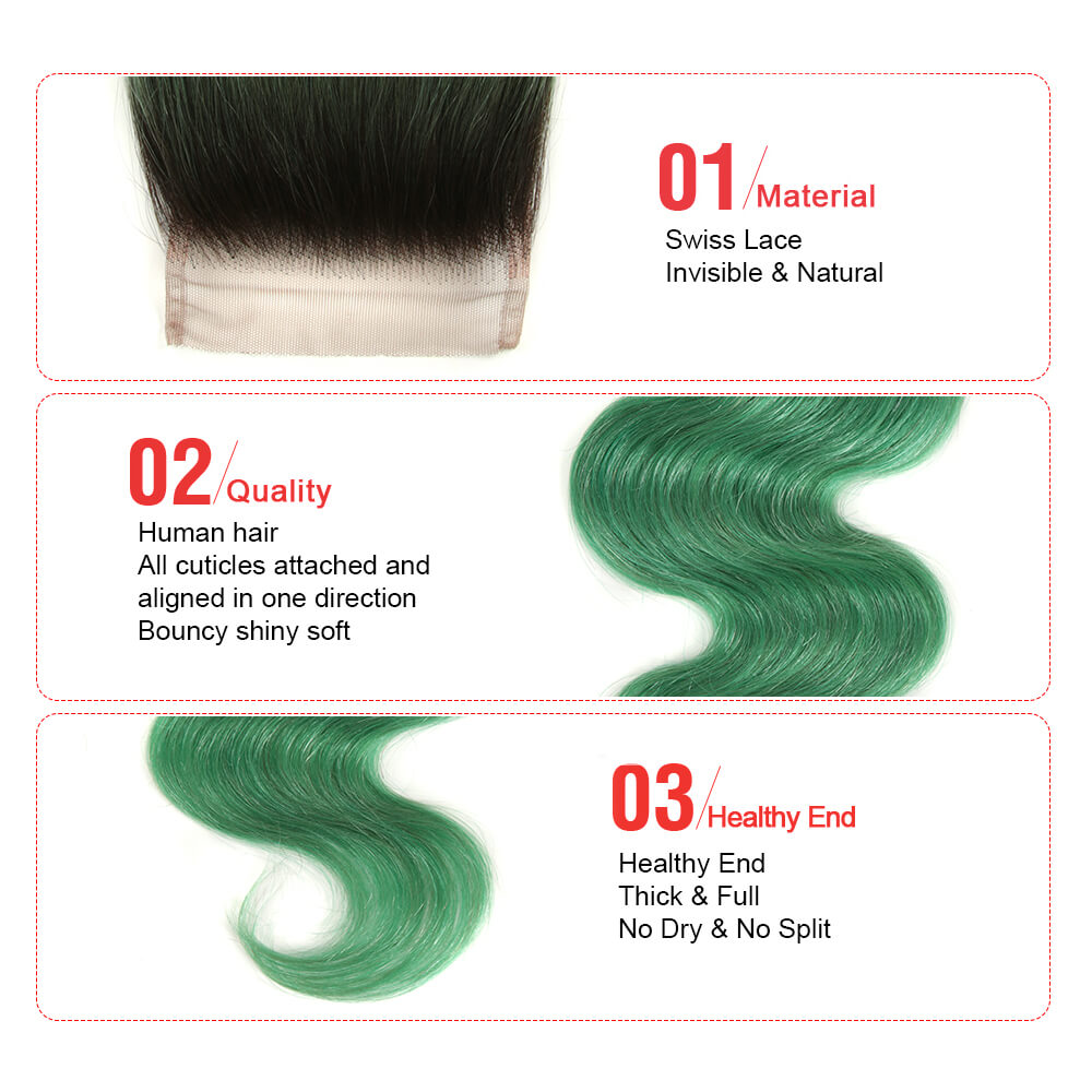 ombre green human hair body wave 3 bundles with 4*4 lace closure detail